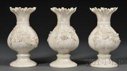Three Belleek Porcelain Ribbon Vases
