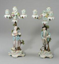 Pair of Figural Meissen Porcelain Convertible Three-light Candelabra