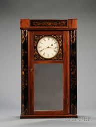 Mahogany Mirror Wall Clock Attributed to Samuel Abbott