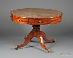Regency Mahogany Leather-top Drum Table