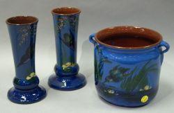 Pair of Longpark Kingfisher Vases and a Lemon & Crute Kingfisher Jardiniere.
