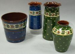 Three Aller Vale Ladybird Vases and a Flowerpot.