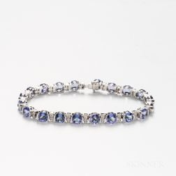 14kt White Gold, Tanzanite, and Diamond Bracelet