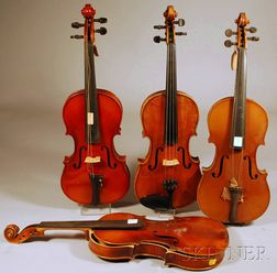 Four Modern German Violins, c. 1950.