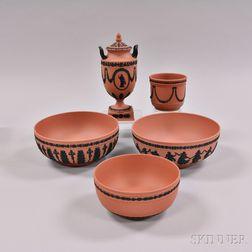Five Wedgwood Terra-cotta Jasper Items
