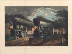 """Currier & Ives, publishers (American, 1857-1907)  THE """"LIGHTNING EXPRESS"""" TRAINS. """"Leaving the Junction."""""""