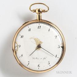 Dubois et Fils 14kt Gold Quarter-repeating Open-face Watch