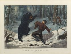 """Currier & Ives, publishers (American, 1857-1907)  THE LIFE OF A HUNTER.  """"A Tight Fix."""""""