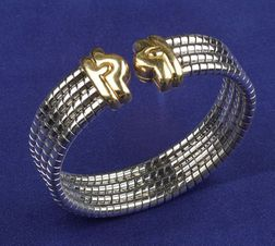 18kt Bi-color Gold Cuff Bracelet, Bulgari