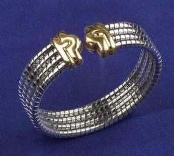 18kt Bi-color Gold Cuff Bracelet, Bulgari