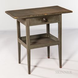 Shaker Green/Gray-painted Cherry and Pine One-drawer Work Stand