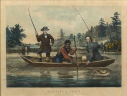 "Nathaniel Currier, publisher (American, 1813-1888)  CATCHING A TROUT.  ""We hab you now, sar."""