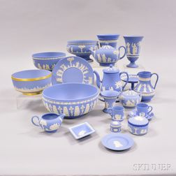 Twenty-two Modern Wedgwood Light Blue Jasper Items.