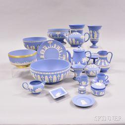 Twenty-two Modern Wedgwood Light Blue Jasper Items.