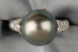 Platinum, Tahitian Pearl, and Diamond Ring, Tiffany & Co.