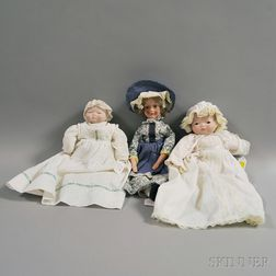 Three Bisque Head Dolls