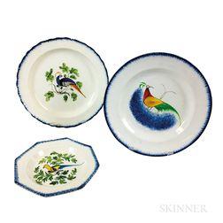 Three Staffordshire Peafowl-decorated Pearlware Plates