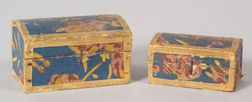 Two Miniature Wallpaper Covered Dome-top Boxes