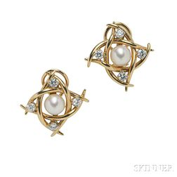 18kt Gold, Cultured Pearl, and Diamond Earrings, Tiffany & Co.