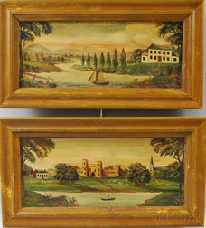 Pair of Framed Overmantel Paintings