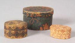 Three Miniature Wallpaper Covered Bandboxes