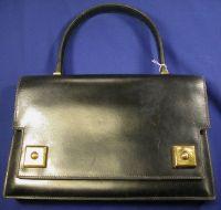 "Black Leather ""Piano"" Bag, Hermes"