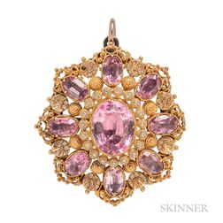 Antique Gold and Pink Topaz Pendant/Brooch