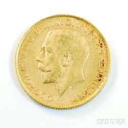 1914-P British Gold Sovereign.     Estimate $200-300