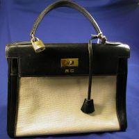 "Black Leather and Canvas ""Kelly"" Handbag, Hermes"
