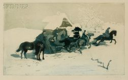 Adolf Jelinek Alex (Czechoslovakian, b. 1890)    Horsemen and Sleigh Before a Cottage.