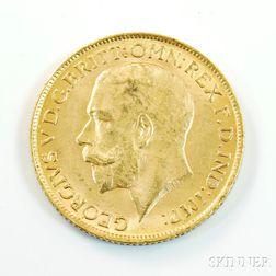 1911 British Gold Sovereign.     Estimate $200-300