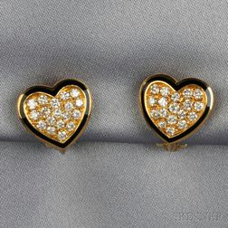 18kt Gold, Diamond, and Enamel Heart Earclips
