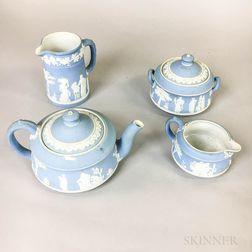 Four Pieces of Wedgwood Light Blue Jasper Tableware