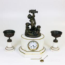 Louis XVI-style Three-piece Alabaster and Bronze Clock Garniture