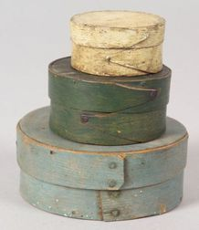 Three Small Painted Round Covered Wooden Boxes
