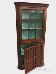 Federal-style Glazed Walnut Two-part Corner Cupboard