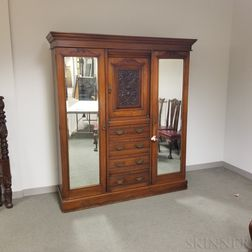 Large Renaissance Revival Carved Walnut Linen Press