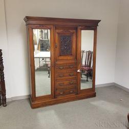Large Renaissance Revival Carved Walnut Linen Press