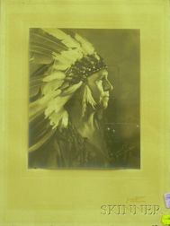Framed Jared Gardner Photograph Portrait of a Man in Native American Costume