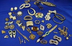 Group of Forty-two Silver and Goldtone Metal Pieces