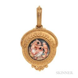 Antique 18kt Gold and Enamel Locket, Eugene Fontenay