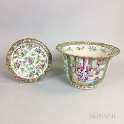 Rose Medallion Porcelain Jardiniere and Dish