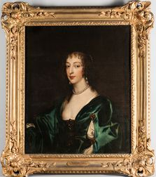 After Sir Anthony van Dyck (Flemish, 1599-1641), Portrait of Henrietta Maria de Bourbon, Queen of England, Bust-length, Wearing a Blue
