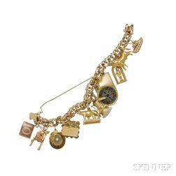 18kt and 14kt Gold Charm Bracelet