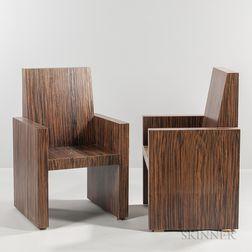 Pair of Modern Faux Calamander Veneer Armchairs