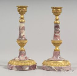Pair of Empire Style Ormolu and Marble Candlesticks