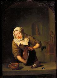 Manner of Caspar Netscher (Dutch, 1639-1684)      Kitchen Interior