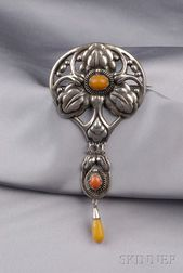 Arts & Crafts Silver and Amber Brooch, Kay Bojesen,