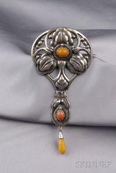 Arts & Crafts Silver and Amber Brooch, Kay Bojesen,