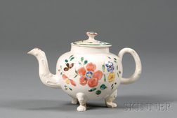 Staffordshire Enamel Decorated White Saltglazed Stoneware Teapot and Cover
